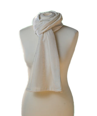 SILK VELVET DOUBLE SIDED SCARF, IVORY