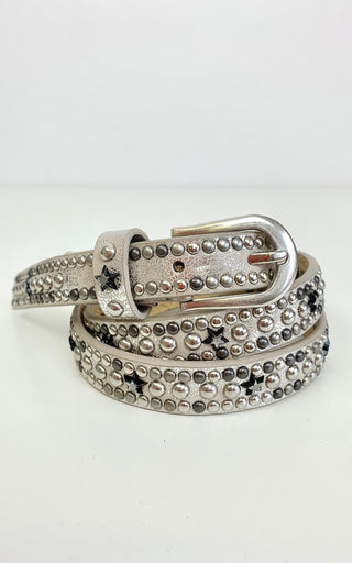 SILVER SLIM BELT WITH STARS & STUDS M/L