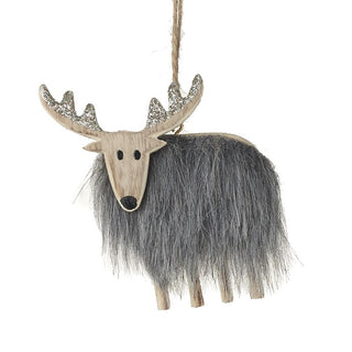 WOODEN DEER WITH GREY FUR BODY HANGING DEC