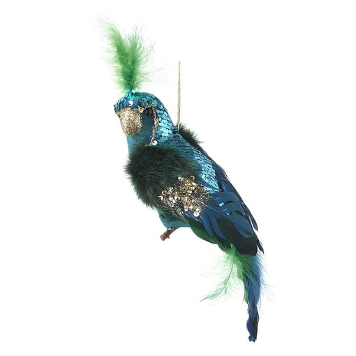 SEQUINNED PARROT HANGING DECORATION, BLUE/GREEN