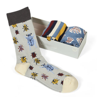 BOX OF 3 PAIRS OF MENS SOCKS, BEETLES GREY