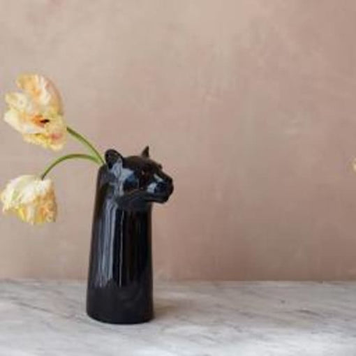 PANTHER TALL CERAMIC VASE