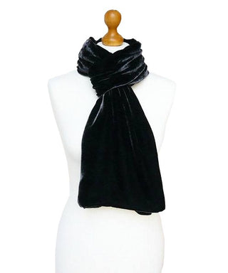 SILK VELVET DOUBLE SIDED SCARF, GUNMETAL