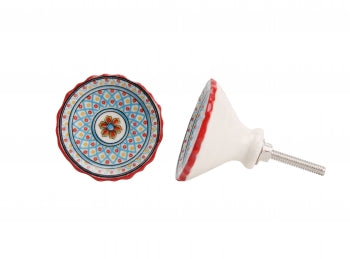 RED & TURQUOISE ROUND DISH CERAMIC DRAWER PULL