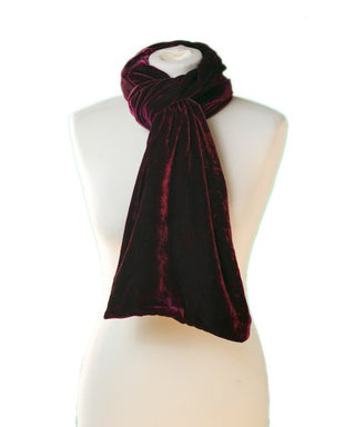 SILK VELVET DOUBLE SIDED SCARF, PORT