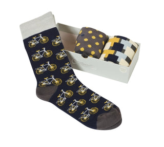 BOX OF 3 PAIRS OF MENS SOCKS, BIKE NAVY