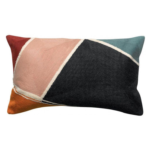 MATI MULTI-COLOURED EMBROIDERED OBLONG CUSHION 30x50cm