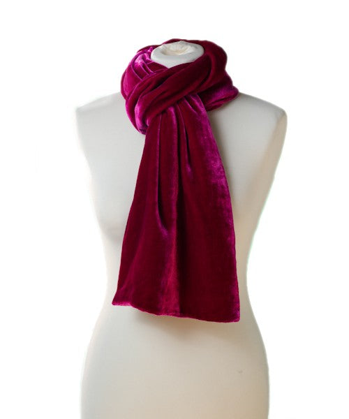 SILK VELVET DOUBLE SIDED SCARF, FUCHSIA