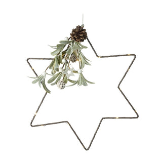 LIGHT UP STAR WITH MISTLETOE