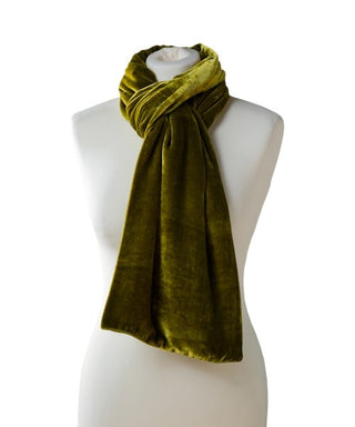 SILK VELVET DOUBLE SIDED SCARF, KIWI BLACK