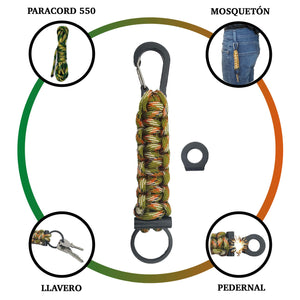 llavero paracord de supervivencia con pedernal