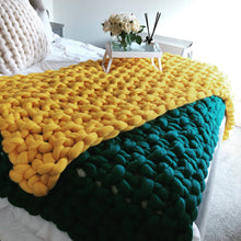 Load image into Gallery viewer, Yellow merino wool chunky knit blanket bed runner