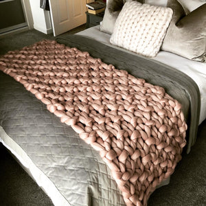 Bella Range - Chunky Knit Blanket in Seed Stitch