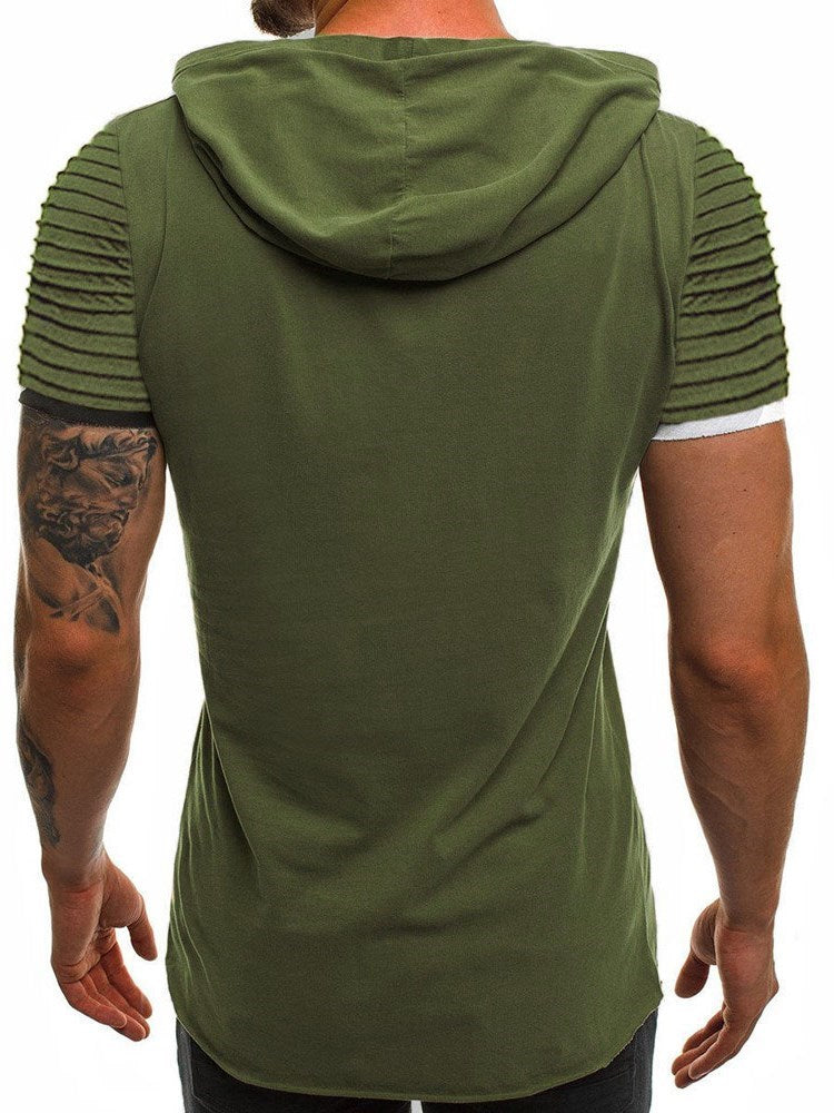 Hooded Casual Color Block Short Sleeve Slim T-shirt
