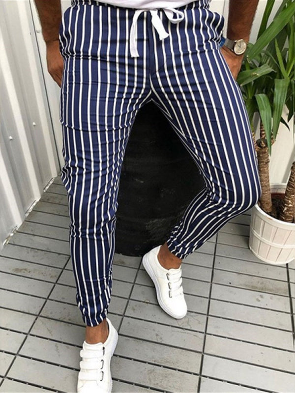 Pencil Pants Thin Stripe Lace-Up Japanese Casual Pants