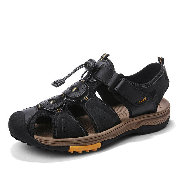 Flat Heel Patchwork Velcro Low-Cut Upper Round Toe Thread Sandals