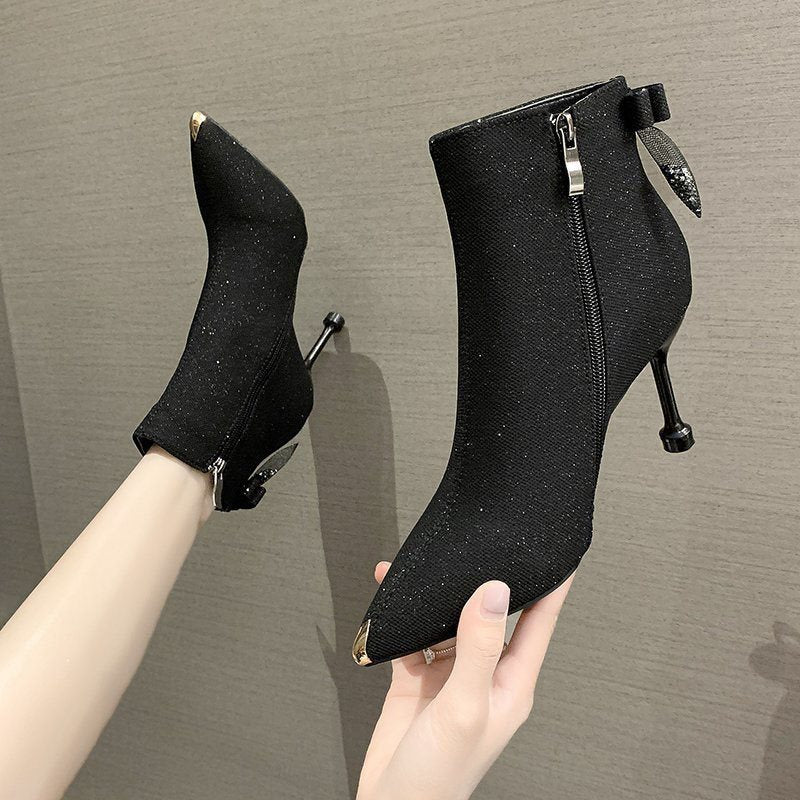 Stiletto Heel Side Zipper Pointed Toe Plain Short Floss Thread Boots