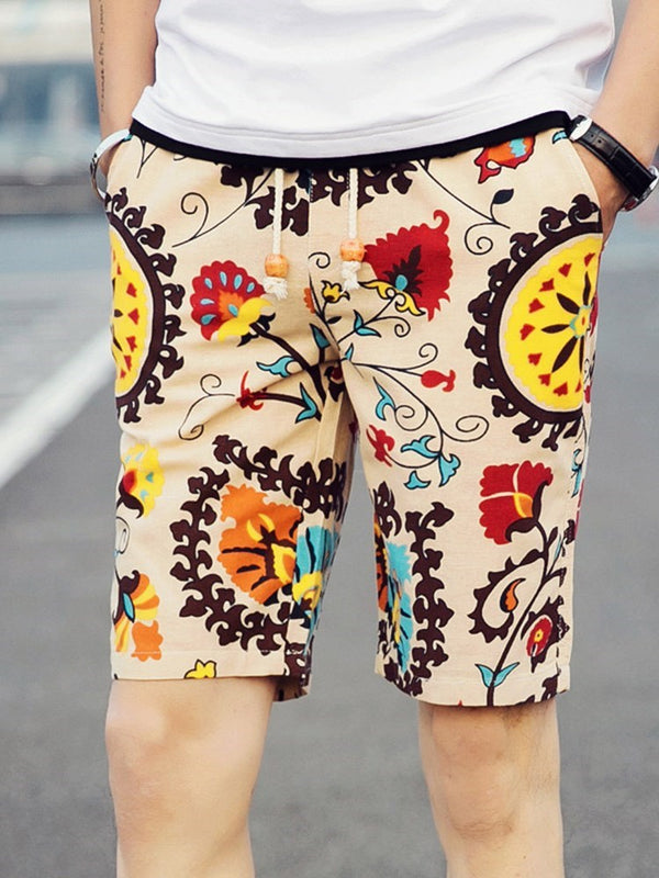 Print Loose Lace-Up Mid Waist Shorts