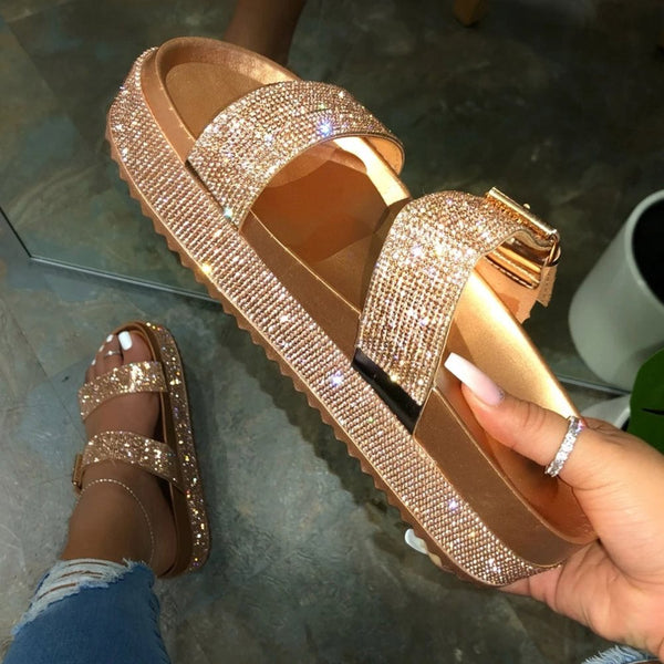 Slip-On Flip Flop Platform Rhinestone Plain Summer Slippers