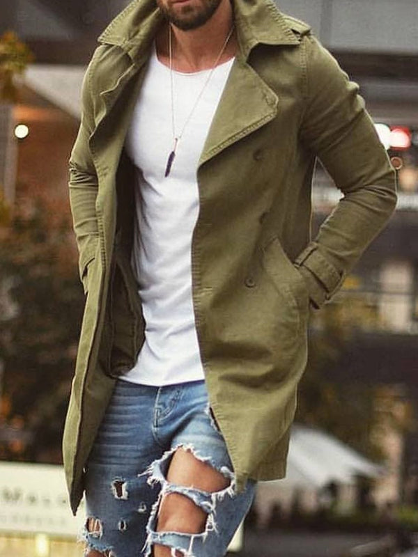 Plain Mid-Length Pocket Loose Fall Trench Coat