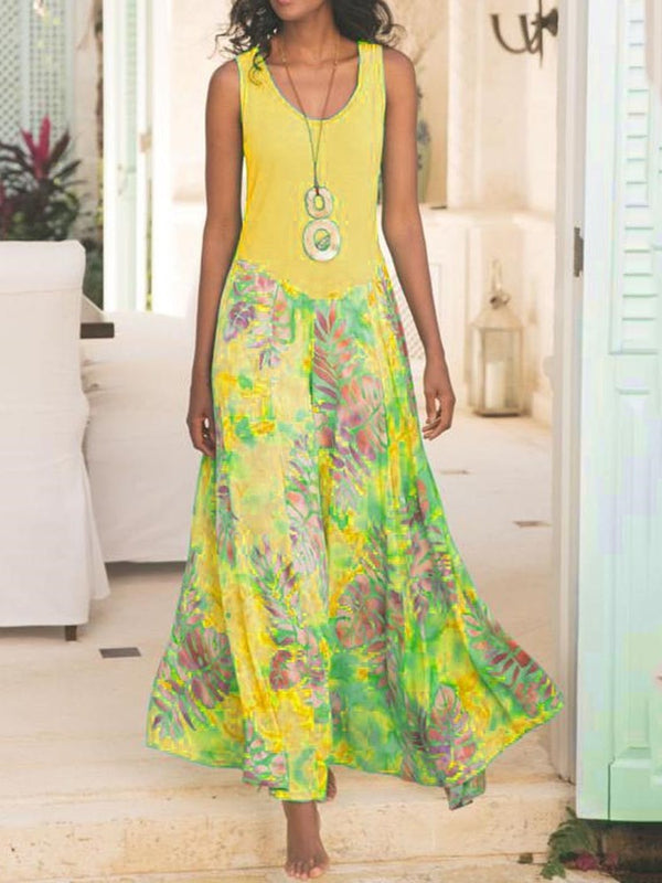Ankle-Length Print Sleeveless Plant Mid Waist Dress