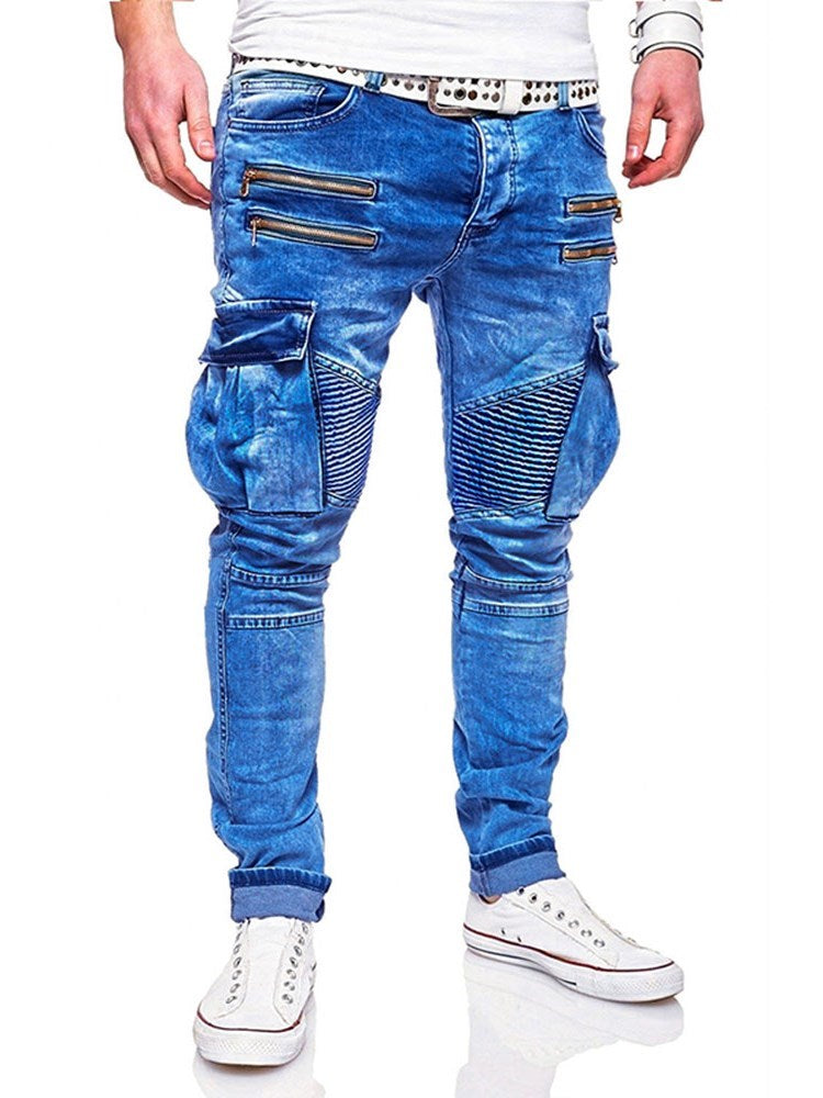 Pocket Straight Plain Zipper Mid Waist Jeans