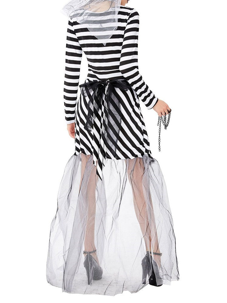 Long Sleeve See-Through Stripe Cotton Blends Fall Costumes
