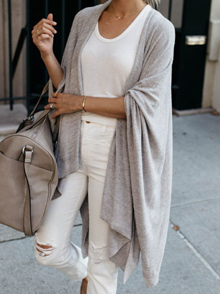 Thin Batwing Sleeve Three-Quarter Sleeve Lapel Sweater
