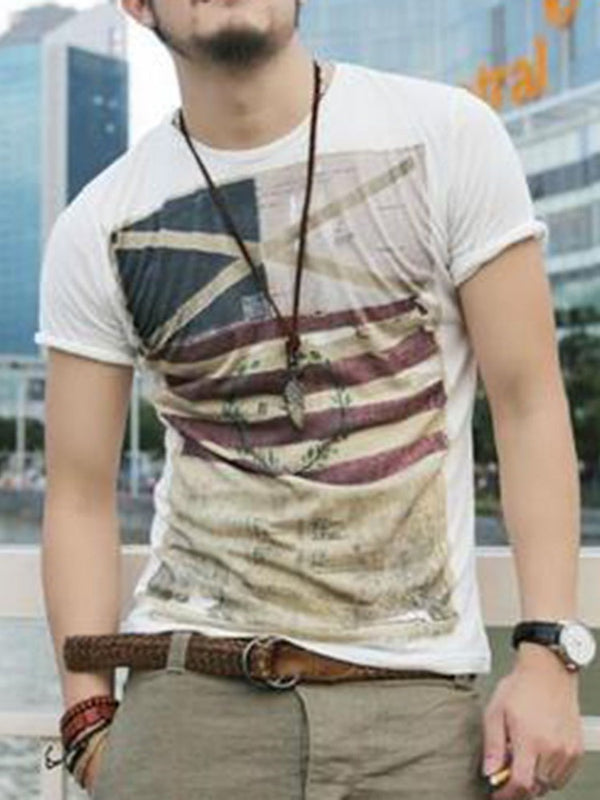 Casual Print Round Neck Short Sleeve Pullover T-shirt