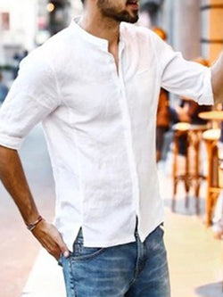 Plain Stand Collar Casual Slim Single-Breasted Shirt