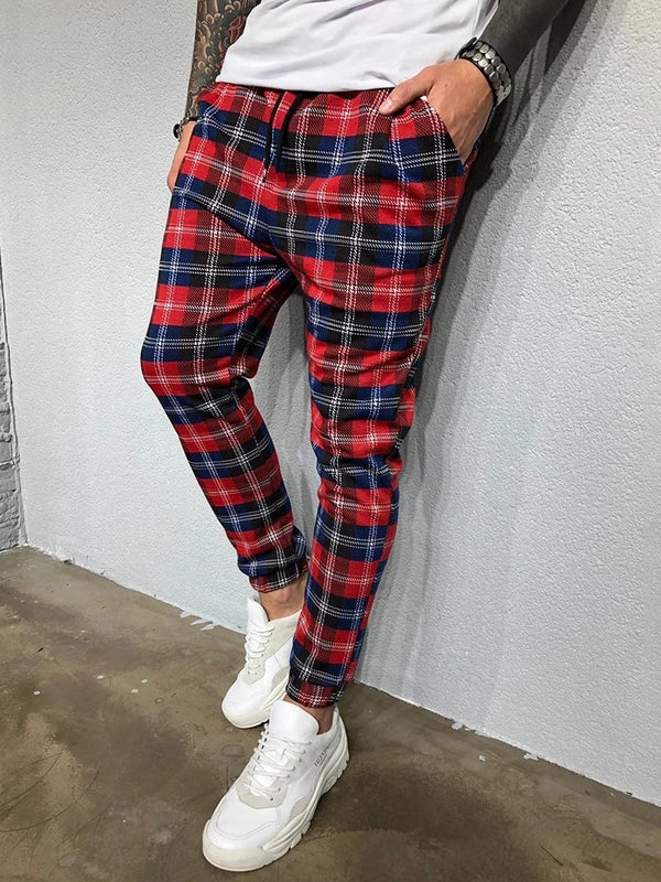 Print Plaid Pencil Pants Four Seasons Lace-Up Casual Pants
