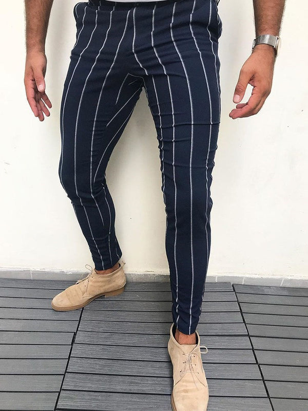 Stripe Pencil Pants Elastics Casual Casual Pants