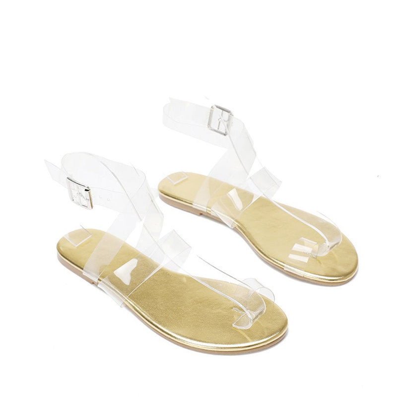 Strappy Flat With Buckle Open Toe See-Through Sandals