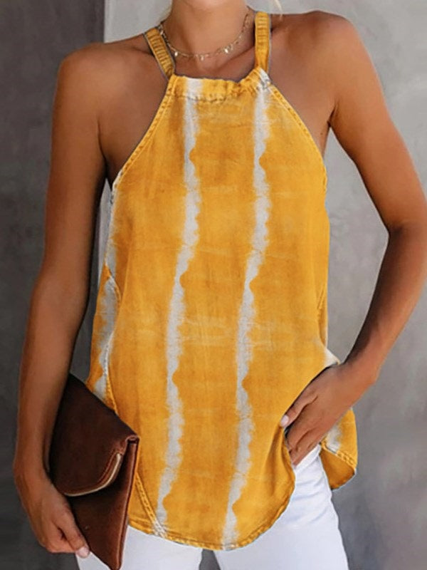 Spaghetti Straps Knitted Fabric Summer Standard Tank Top