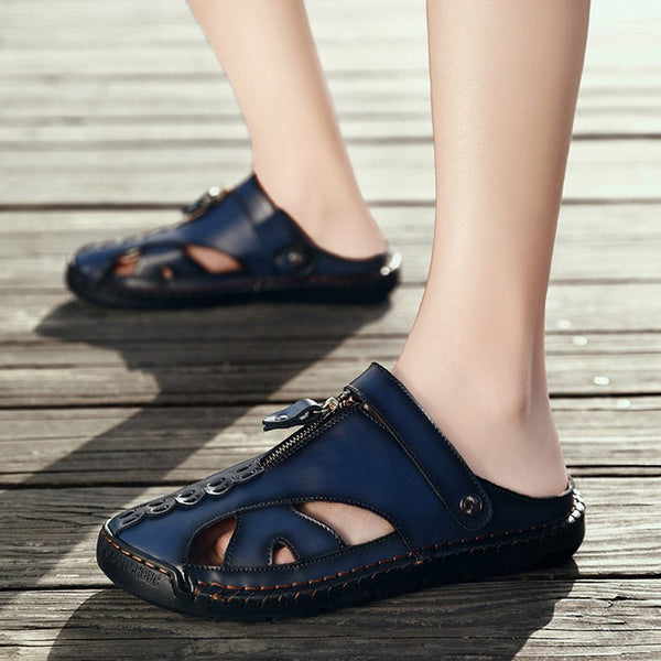 Flat Heel Slip-On Plain Low-Cut Upper Round Toe Thread Sandals