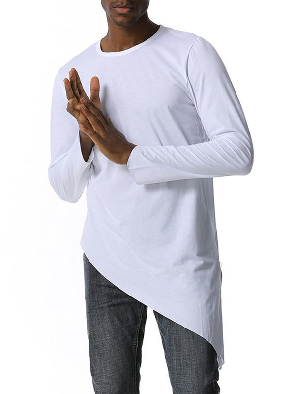 Round Neck Asymmetric Casual Slim Pullover T-shirt