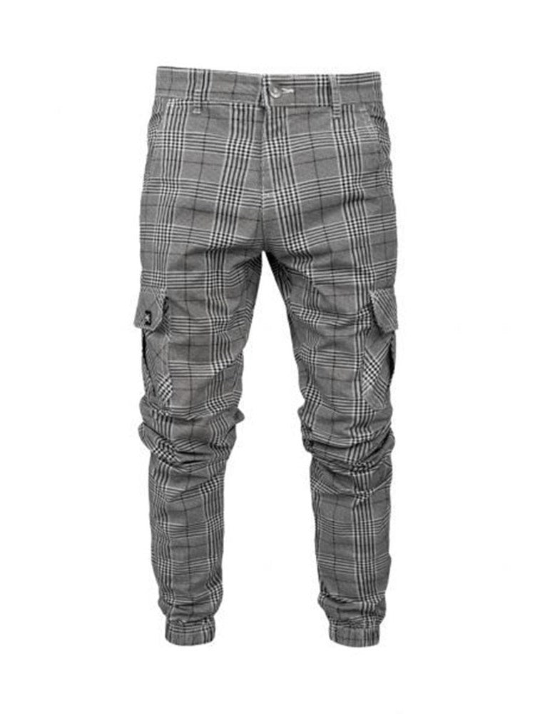 Overall Button Plaid Casual Four Seasons Casual Pants