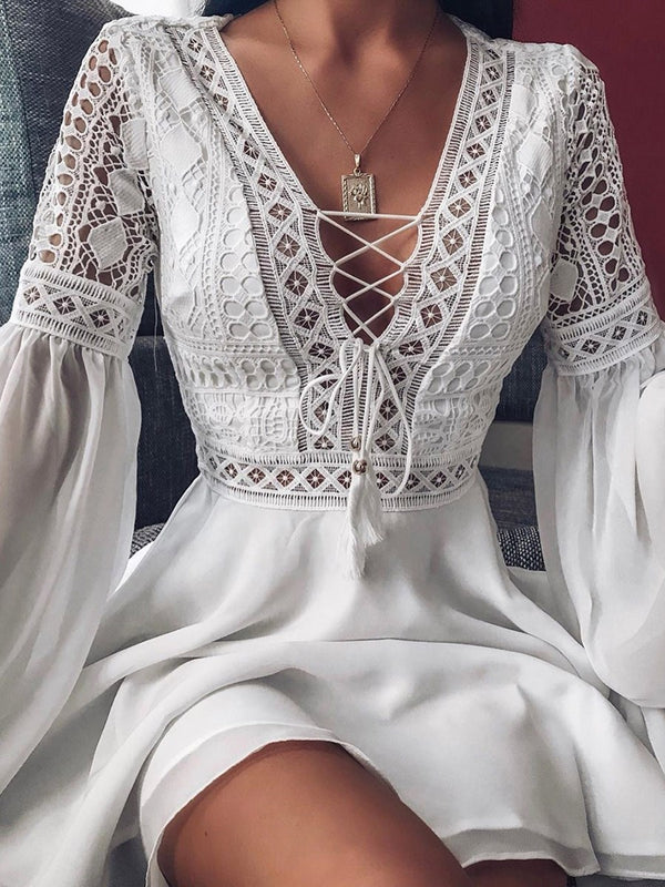 Long Sleeve V-Neck Patchwork Geometric Summer Dress