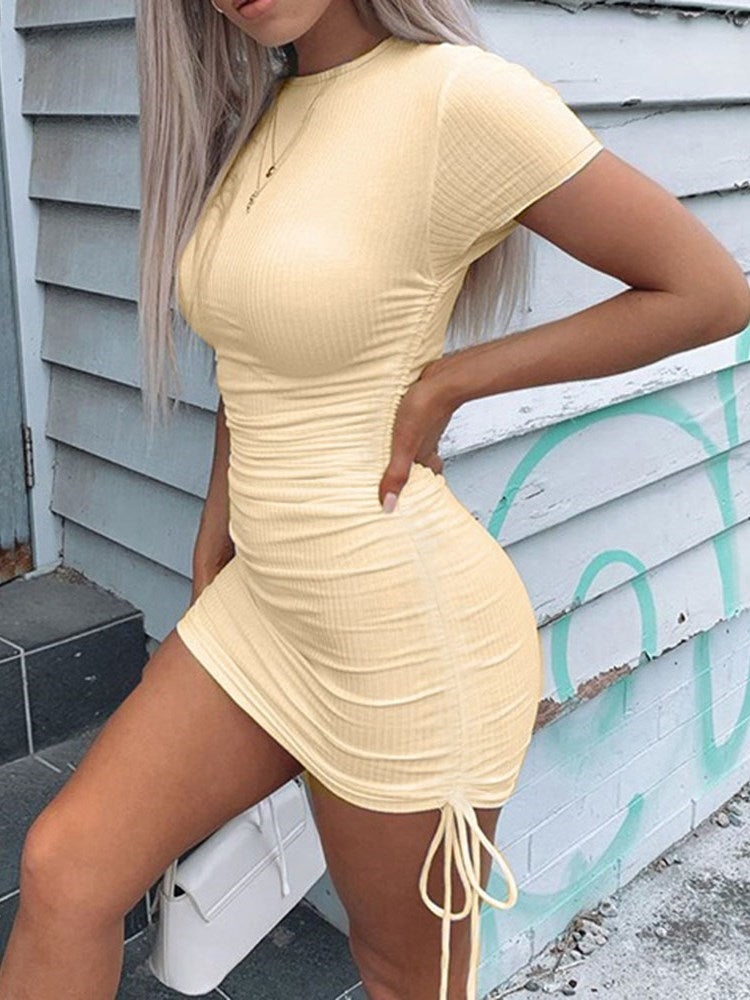 Above Knee Round Neck Lace-Up Pullover Bodycon Dress