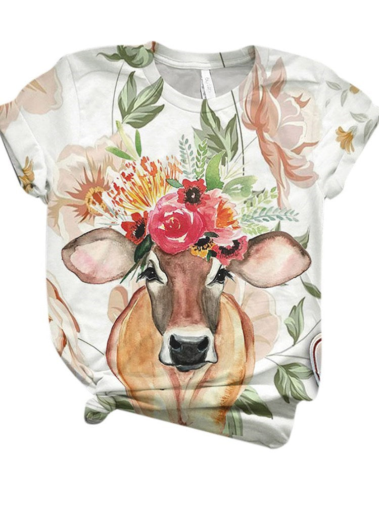 Short Sleeve Mid-Length Cartoon Western Loose T-Shirt