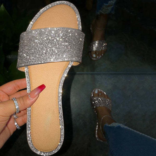 Slip-On Rhinestone Flat With Flip Flop Slippers