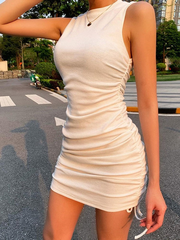 Above Knee Lace-Up Sleeveless Plain Casual Dress
