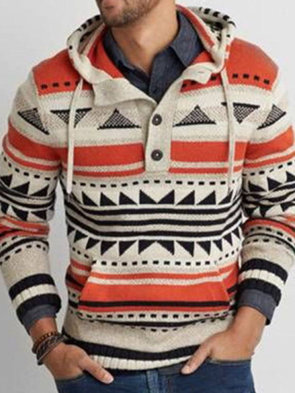 Color Block Pocket Hooded Casual Slim Sweater