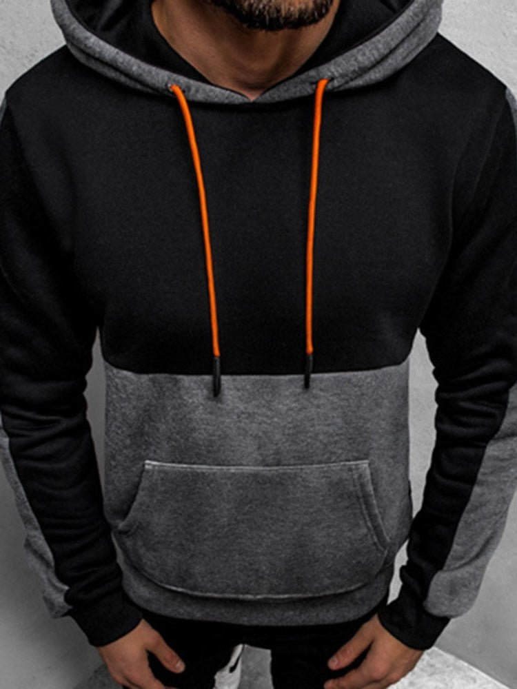 Patchwork Pullover Thick Fall Slim Hoodies