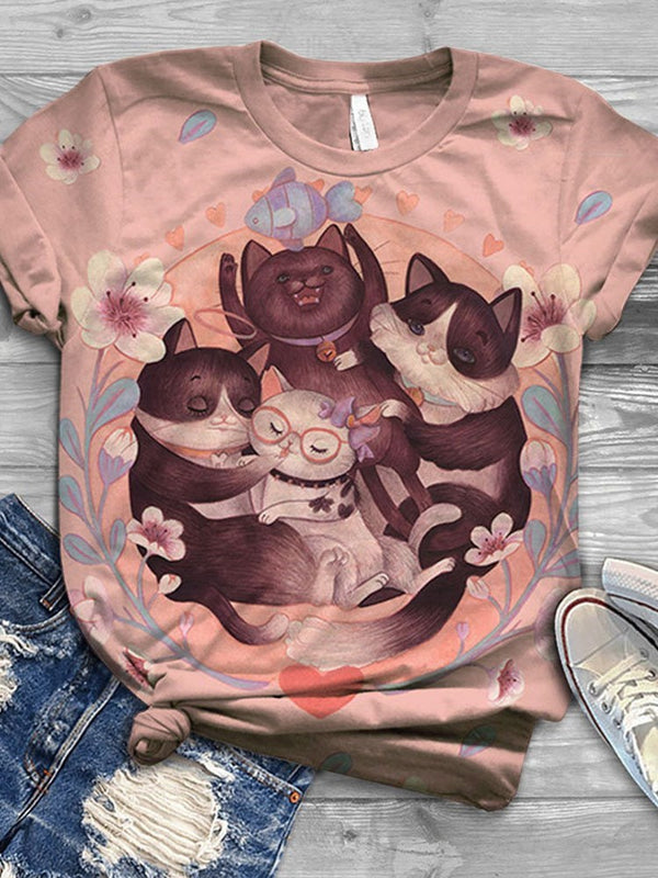 Mid-Length Cartoon Round Neck Casual Summer T-Shirt