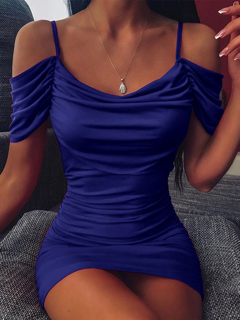 Above Knee Short Sleeve Pleated Party/Cocktail Bodycon Dress