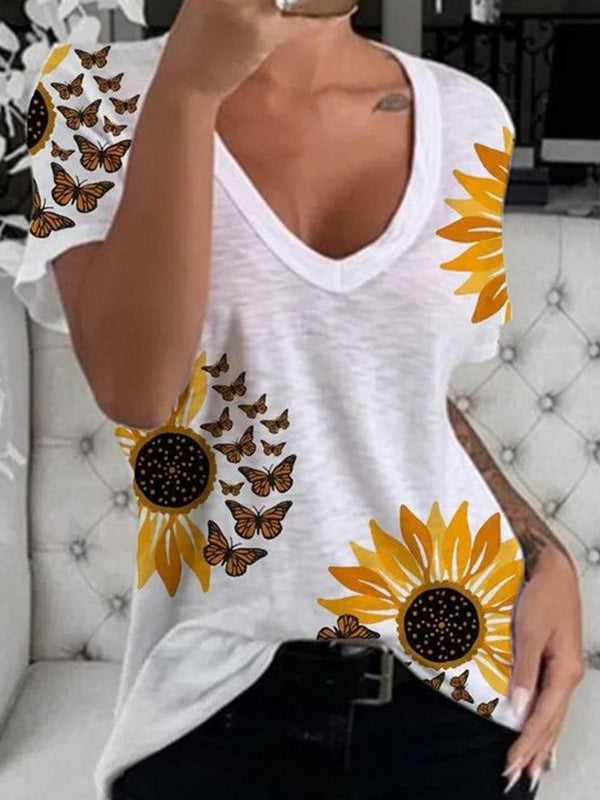 Floral Mid-Length Short Sleeve Slim Casual T-Shirt