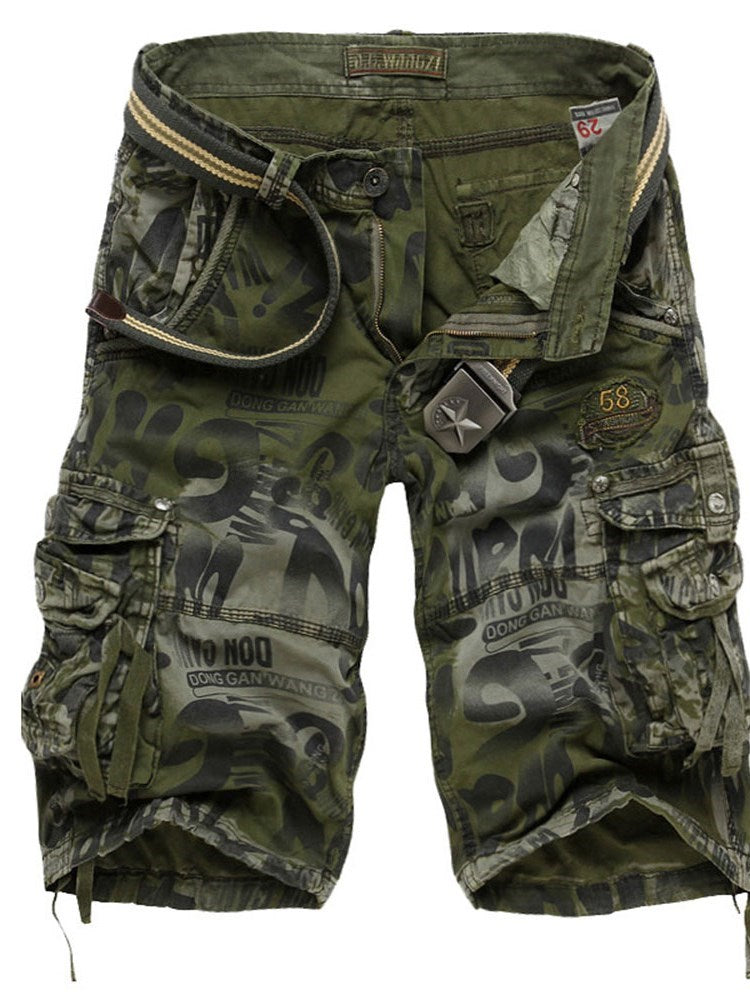 Camouflage Pocket Straight Casual Mid Waist Shorts