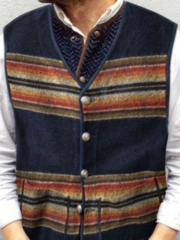Button Color Block Single-Breasted Fall Waistcoat