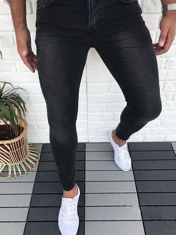 Plain Pencil Pants Casual Low Waist Jeans